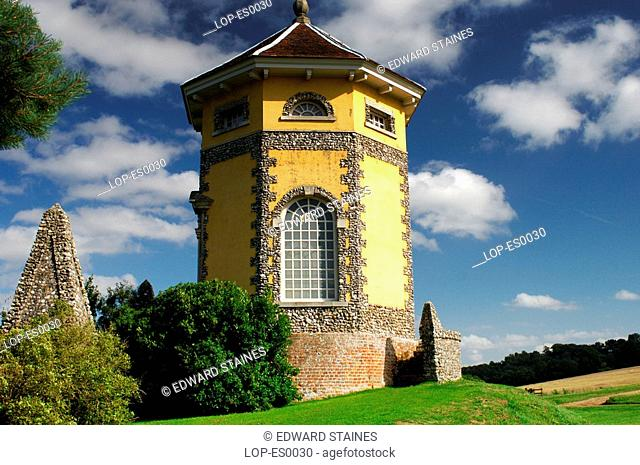 England, Buckinghamshire, West Wycombe, The Temple of the Four Winds at West Wycombe House. West Wycombe village is owned by the National Trust