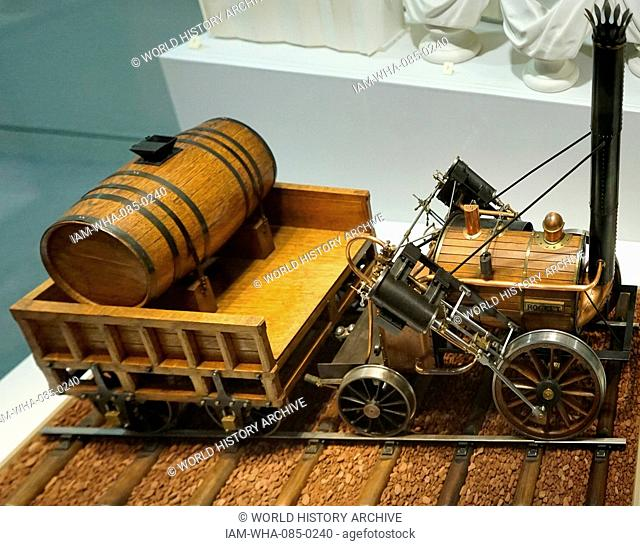 Example of the Stephenson's Rocket, an early steam locomotive designed by Robert Stephenson (1803-1859) an early railway engineer. Dated 19th Century