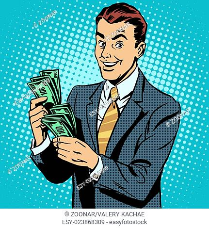 Businessman counting money dollars