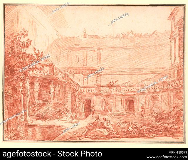 The Nymphaeum of the Villa di Papa Giulio, Rome. Artist: Hubert Robert (French, Paris 1733-1808 Paris); Date: ca. 1761; Medium: Red chalk