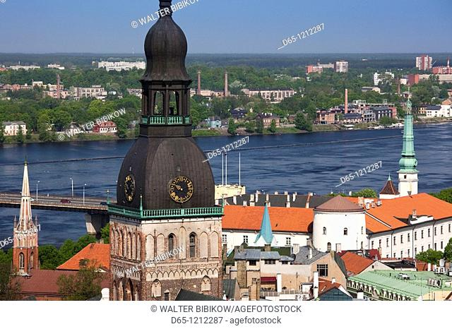 Latvia, Riga, Old Riga, Vecriga, Dome Cathedral and elevated town view
