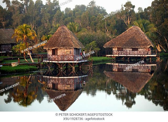 morning mood at Villa Guama, small Hotel designed to resemble an Indian Village on stilts in the water near Boca de Guama, Peninsula de Zapata, Matanzas, Cuba