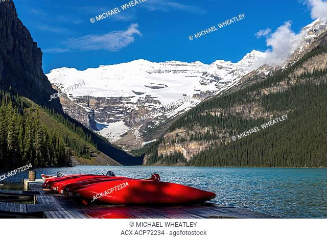 Canoes, Lake Louise, Banff National Park, Alberta, Canada