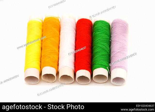 Thread spools isolated on the white background