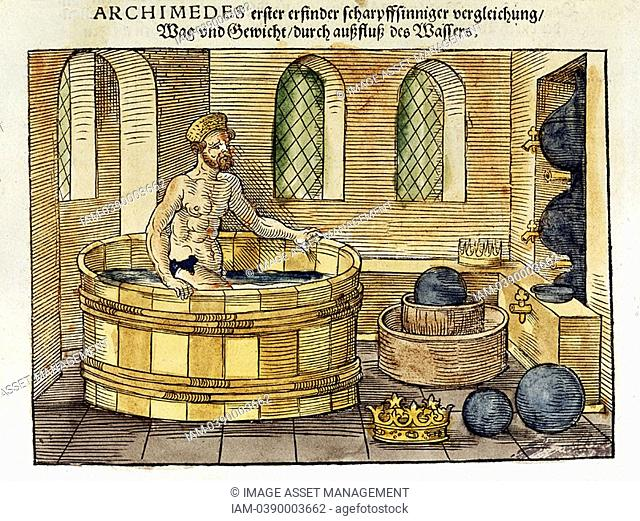 Archimedes c 287-212 BC Greek mathematician and inventor, in his bath  Discovered formulae for calculating areas and volumes of plane and solid figures...