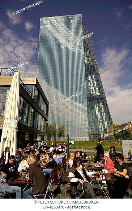Cafe in front of the European Central Bank, Frankfurt am Main, Hesse, Germany