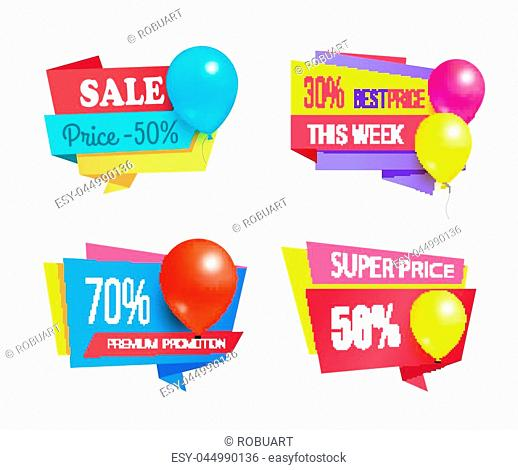 70 50 30 premium promotion sale promo labels with glossy balloon realistic vector illustration sale coupons with helium balloons isolated on white set