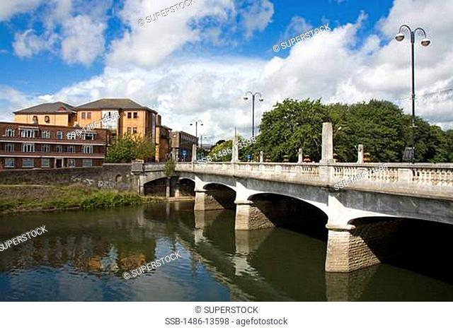Castle Street Bridge over River Taff,Cardiff City, Wales, United Kingdom, Great Britain, Europe