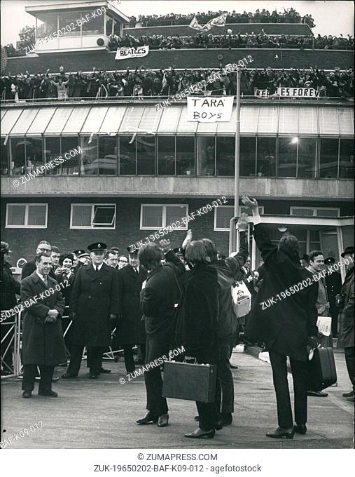 Feb. 02, 1965 - The Beatles fly to the Bahamas for New film: 'The Beatles'-left London Airport this afternoon for the Bahamas for shooting of their latest film