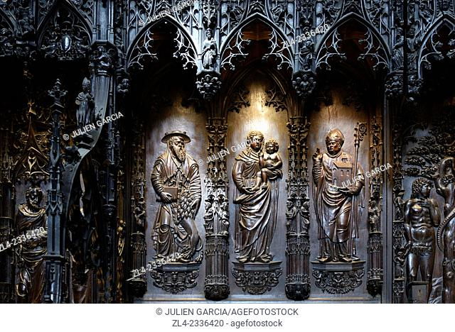 Saint Mary cathedral listed as World Heritage by UNESCO, oak stalls sculpted during the 16th century. France, Gers, Auch, a stop on el Camino de Santiago