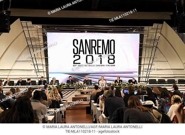 Director of Rai1 Angelo Teodoli, Pierfrancesco Favino, Claudio Baglioni, Michelle Hunziker, director Duccio Forzano during the closing press conference of 68th...