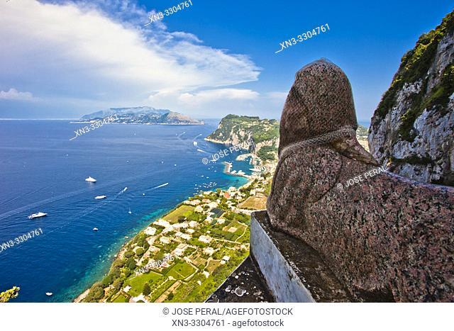 Egyptian Sphinx, view of coastline and Marina Grande, from Villa San Michele, Anacapri, Capri island, Campania region, Tyrrhenian Sea, Italy, Europe