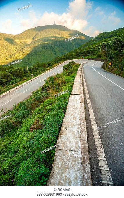 Hai Van pass - the famous road which leads along the coastline m