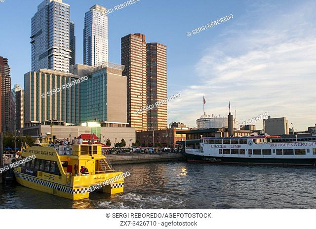 New York water taxi and Circle line sightseeing cruises in Hudson River, New York, USA. Sightseeing Cruise Circle Line. Boat Tour Journey Down the Hudson River
