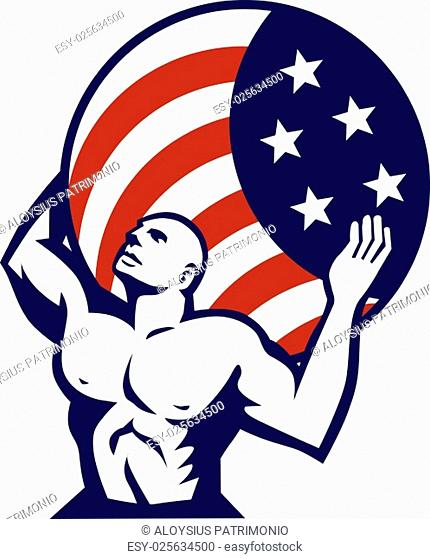 Illustration of Atlas looking up carrying on his back globe world earth draped with usa american stars and stripes flag viewed from front set on isolated white...