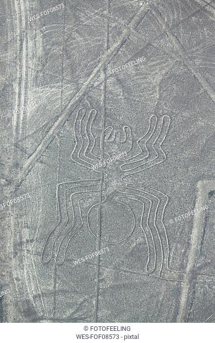 Peru, Nazca, Aerial view of geoglyphs of Nazca, The Spider
