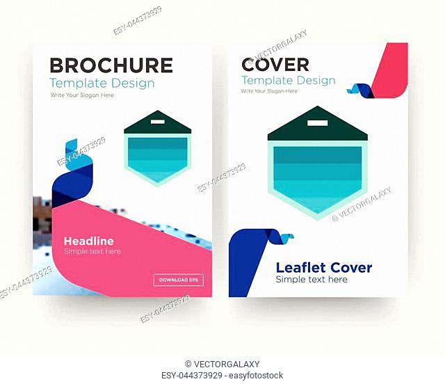 garage door brochure flyer design template with abstract photo background, minimalist trend business corporate roll up or annual report
