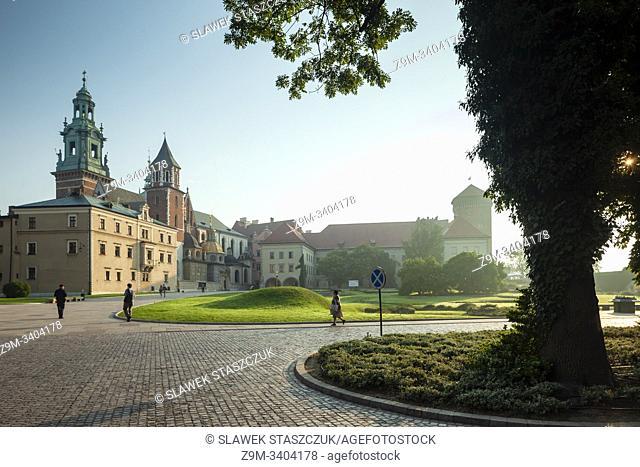 Summer morning at Wawel Royal Castle in Krakow, Poland