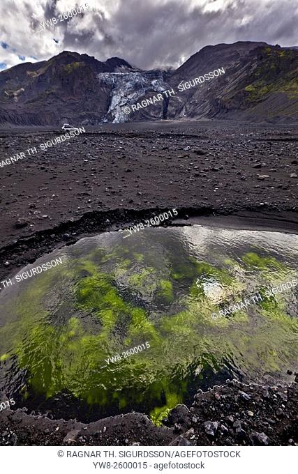 Algae and black sand by Gigjokull- outlet glacier from Eyjafjallajokull Ice Cap. Months after the Eyjafjallajokull eruption the landscape is transformed