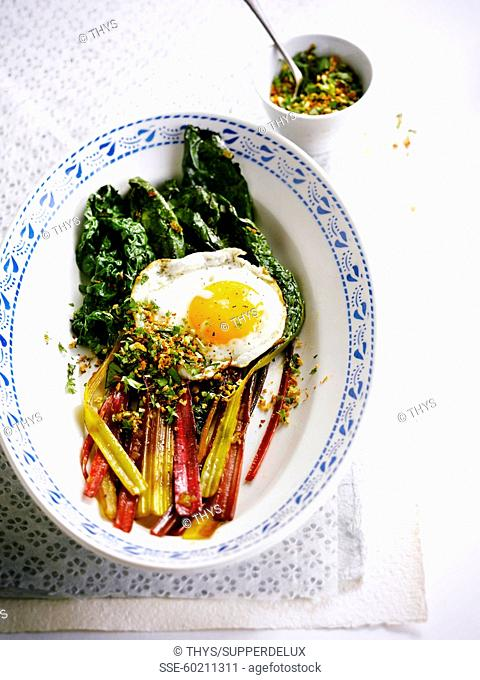 Swiss chard with a fried egg