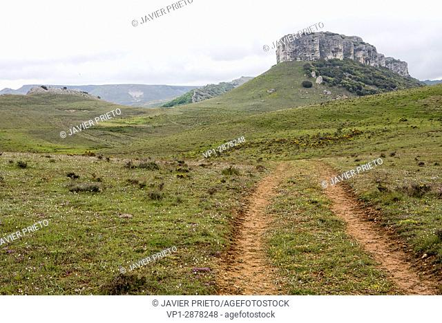 Mountain of Peña Mesa from the geological itinerary Las Fuerzas de las Tierra. World geopark The parrots. Locality of Rebolledo de la Torre. Burgos