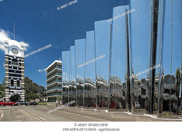 Juxtaposition of exterior facade with urban context. Len Lye Centre, New Plymouth, New Zealand. Architect: Patttersons Associates, 2015
