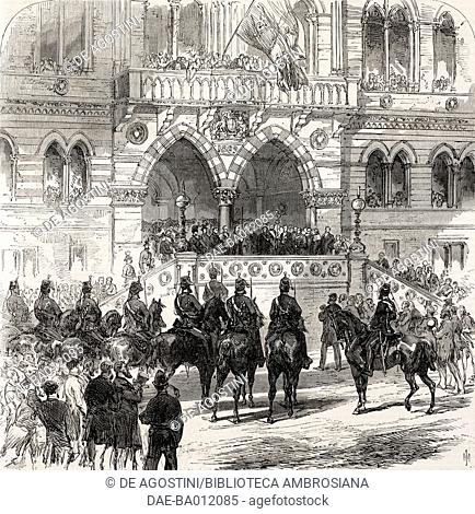 Albert Edward, Prince of Wales, opening the new town hall, Chester, United Kingdom, illustration from the magazine The Illustrated London News, volume LV