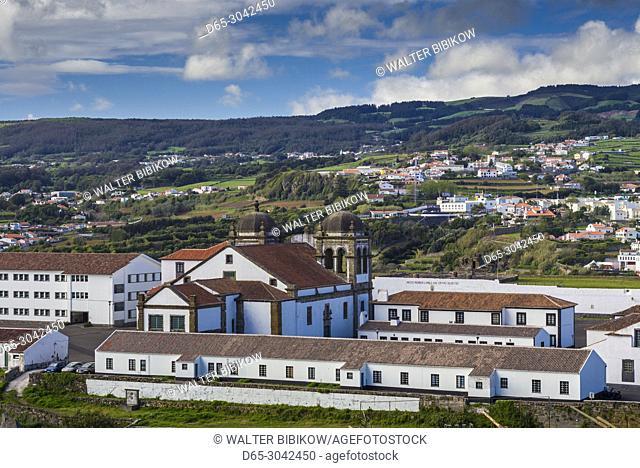Portugal, Azores, Terceira Island, Angra do Heroismo, elevated view of the Castelo de Sao Filipe fort