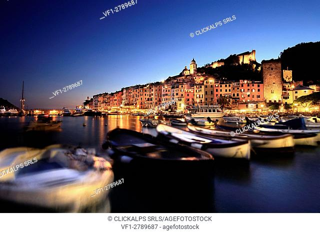 Panoramic view of Portovenere from the Port, Liguria, Italy