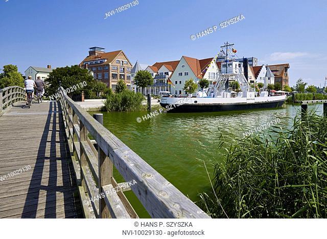 Port with steam ferry boat Wolgast, Wolgast, Mecklenburg-Western Pomerania, Germany