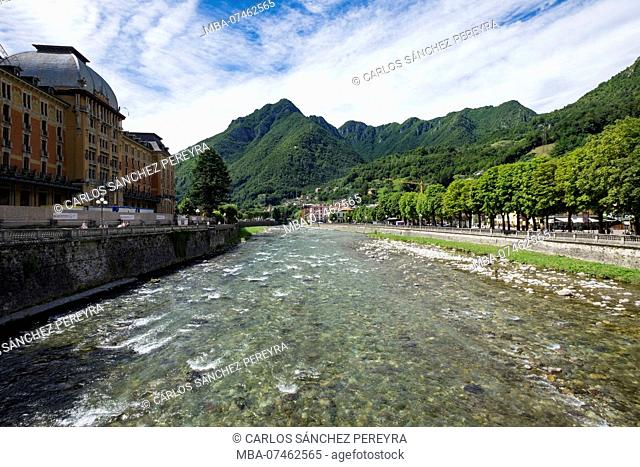 San Pellegrino with its architecture art noveau is one of the most important tourist destinations in the Brembana valley north of the province of Bergamo in...