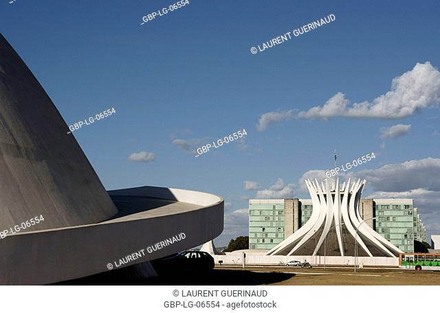 National museum, Metropolitan Cathedral Ours Mrs. Aparecida, city, Distrito Federal, Brasília, Brazil