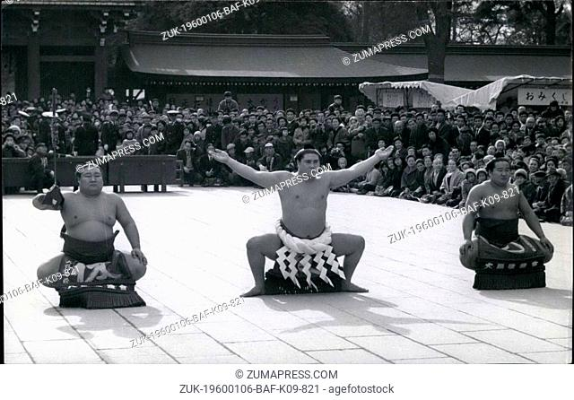 1968 - Japanese wrestlers pay homage at Shinto shrine in Tokyo.: Grand champion Taiho (center) goes through the ritual of 'dohyoiri' (entering the ring) at the...