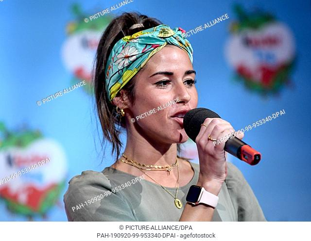 "19 September 2019, Berlin: The singer Sarah Lombardi sings at """"kinder Tag 2019"""" in Radialsystem V. On the occasion of World Children's Day on 20 September"