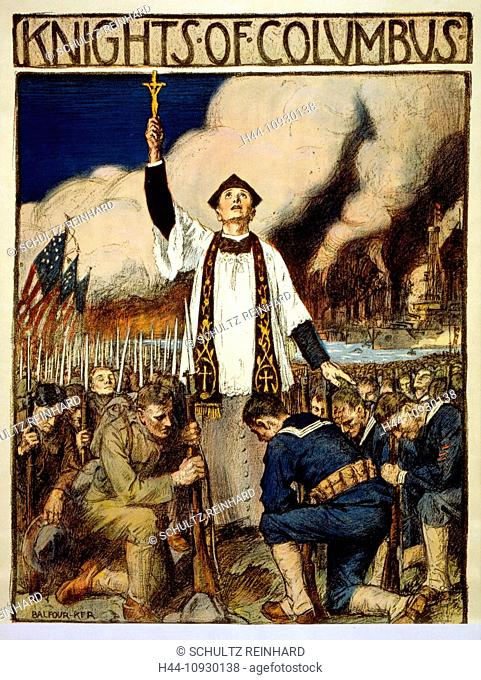 World War I, American, poster, priest, crucifix, blessing, kneeling, soldiers, religion, USA, 1917
