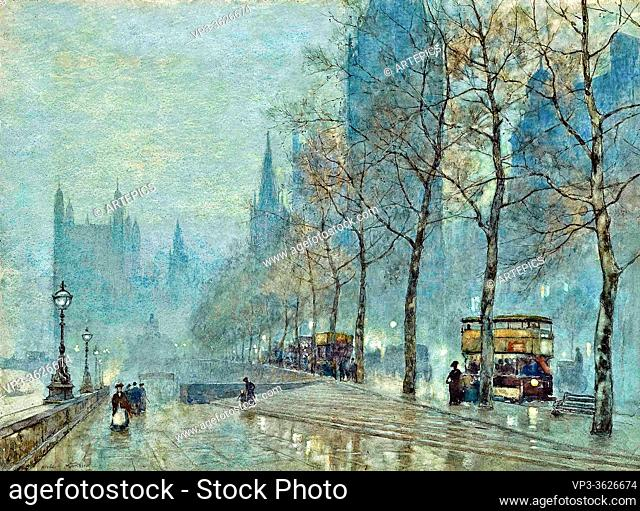 marshall, herbert menzies - A Winter's Evening on the Embankment with the Houses of Parliament beyond - 24656931290-1ac95df477-o