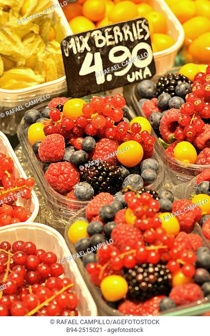 Berries for sale at La Boqueria market, Barcelona. Catalonia, Spain