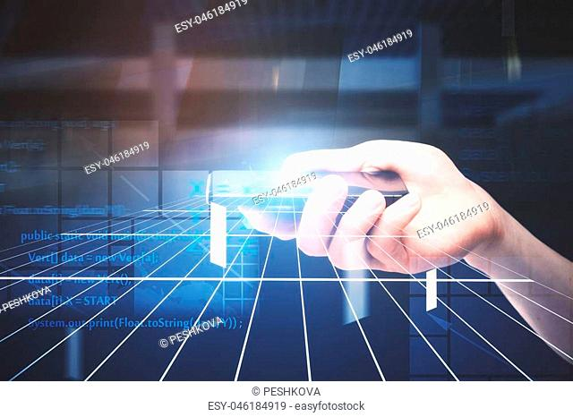 information and communication technology concept with smartphone in man hand with abstract glowing lines and web programming code background