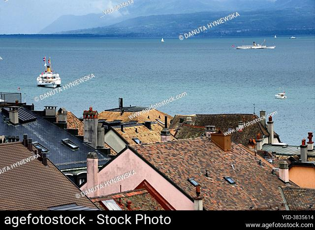 View for Geneva Lake above roof of historic part of Nyon, canton Vaud, Switzerland, Europe