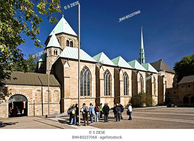 guided tour in front of Essen cathedral in Essen downtown, Germany, North Rhine-Westphalia, Ruhr Area, Essen