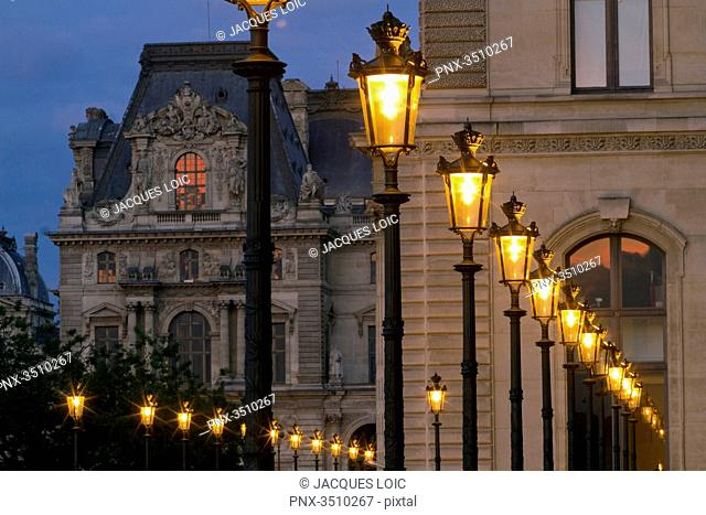 France, Paris, 1st district, Louvre museum, southern wing by the Jardin du Carrousel at night
