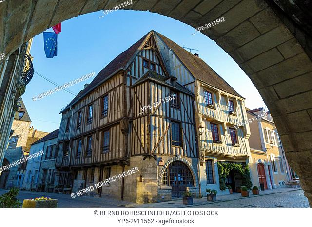 French village Noyers with frame houses, Yonne, Bourgogne, France