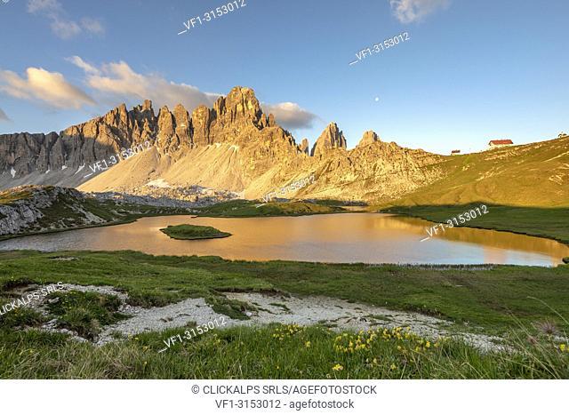 Sesto / Sexten, province of Bolzano, Dolomites, South Tyrol, Italy. Sunrise at the lake Piani and the Mount Paterno