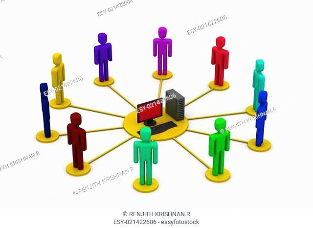 Computer network. communicating data
