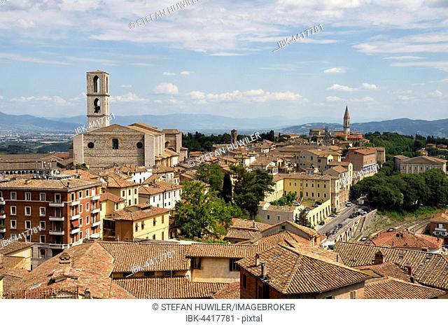 Cityscape with Church of San Domenico, rear Church of San Pietro, Perugia, Umbria, Italy
