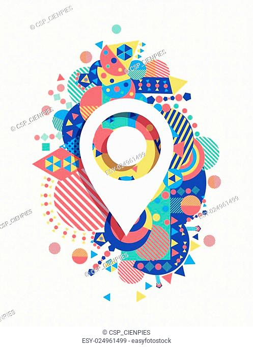 Gps map icon colorful vibrant shape background
