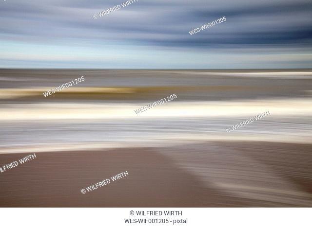 Netherlands, The Hague, Scheveningen, blurred North Sea Coast