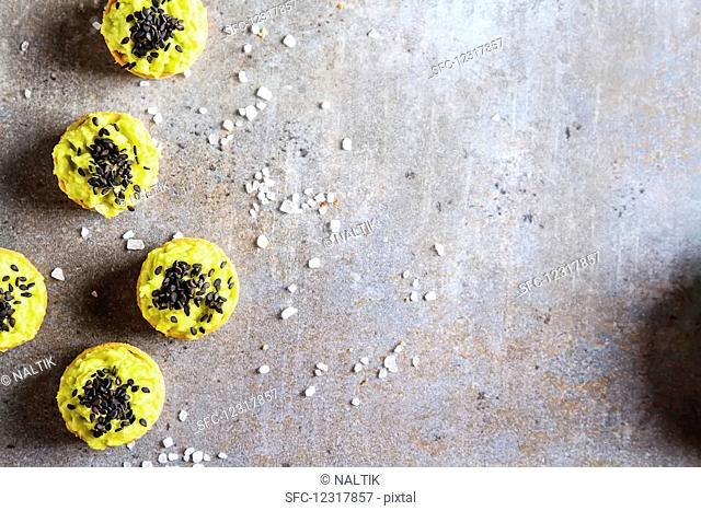 Avocado tartlets made from fresh sliced avocado from above