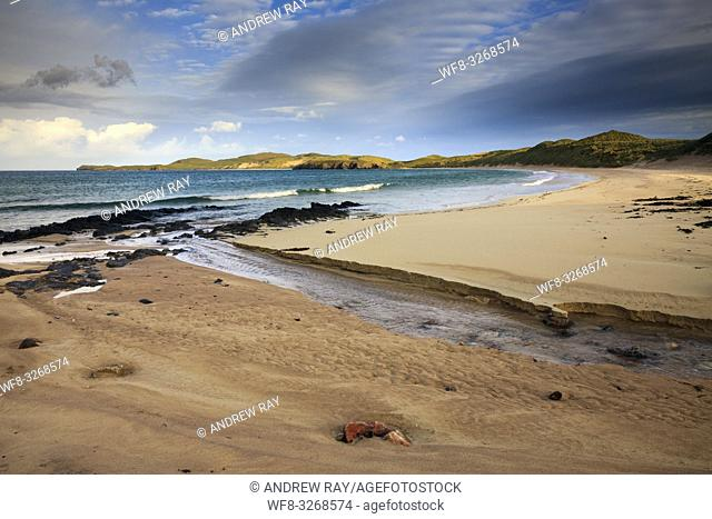 Balnakeil Beach near Durness in the far north west of Scotland with Faraid Head in the distance