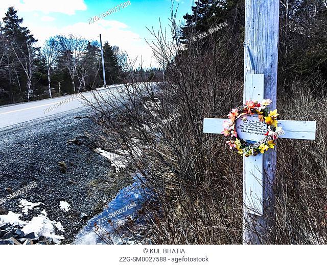 Roadside memorial for an old friend, Nova Scotia, Canada